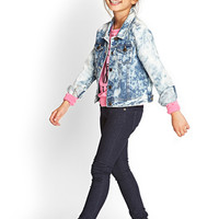 FOREVER 21 GIRLS Stone Wash Denim Jacket (Kids) Denim Washed