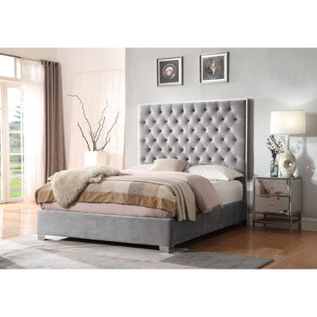 Emerald Home Furnishings Lacey Gray Upholstered King Bed B132 12 03 K | Bellacor