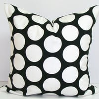 Black Polka Dot Pillow.Black.18x18inch Decorator Pillow Cover.Printed Fabric Front and Back.Dots.Spots.Housewares