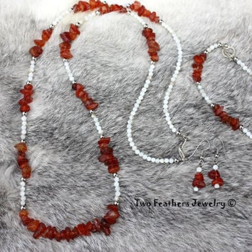 Carnelian Jewelry - White Shell Jewelry - Necklace - Bracelet - Earrings - 3 Piece Set - Gift For Her - Mothers Day - Matching Jewelry Set