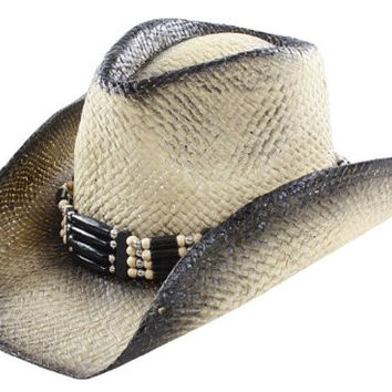Unisex Cowboy Western Wear Hat with Black Stained Edges and Beaded Hatband