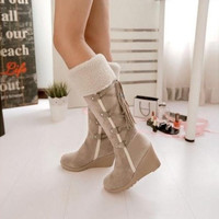 Women's Knee High Boots Faux Suede Fringe Wedge Heel Tassels Strappy Shoes [8238484295]