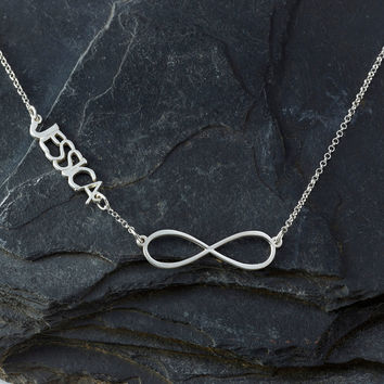 Infinity Necklace with silver personalized name pendant 'Yali' style - infinity sign necklace - infinity symbol necklace