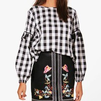Tall Holly Check Tassel Sleeve Blouse | Boohoo