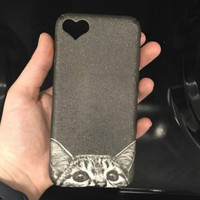 Cute Cat Heart Hole Case Cover for iPhone 7 7Plus & iPhon 6s 6 Plus +Gift Box