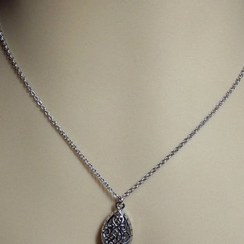 Long White Gold Filigree Teardrop Necklace, Mom Sister Grandmother Bridesmaid Wedding Jewelry Gift, Cocktail, Limited, Classy