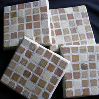 Brown, Rust Tones, Stone Coasters, Mosaic, Housewarming, Unisex Gift, Hostess Gift, Coasters, Home Decor, Trivet