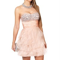 SALE-Aurelie- Peach Jeweled Prom Dress