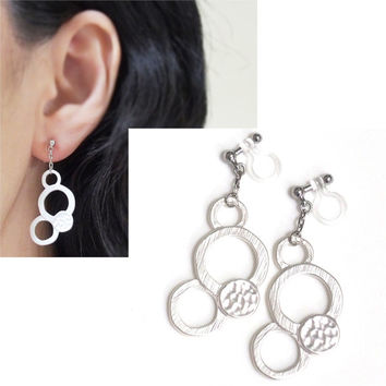 Matte Silver Bubble Invisible Clip On Earrings, Dangle Silver Circle Clip Earrings, Non Pierced Earrings, Statement Large Hoop Clip ons,