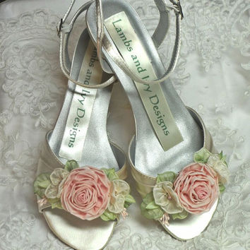 Pink Ribbonwork Rose Heels Bridal Heels Custom Designs Custom Dyeable Colors
