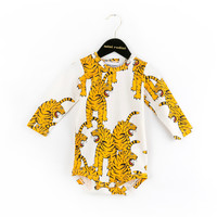 Mini Rodini Bengal Tiger LS Body Onesuit in White - 1574013410
