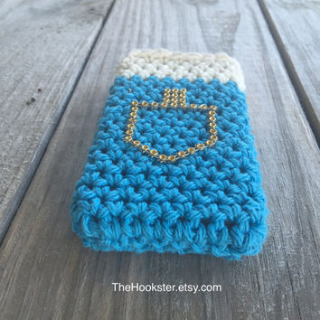 Chanukkah phone case with gold dreidl, All sizes, Hanukkah phone cover, Crocheted Chanukah phone cover, Jewish holiday phone case, gift idea
