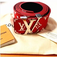 Perfect Louis Vuitton LV Supreme Woman Fashion Smooth Buckle Belt Leather Belt
