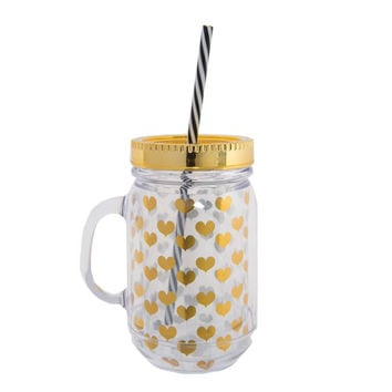 Gold Foil Heart Mason Jar Glass with Straw