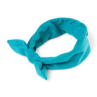Tied Teal Jersey Headwrap with Velcro