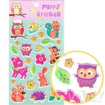 Cartoon Owl Birds Squirrel Rabbit Shaped Puffy Stickers for Scrapbooking