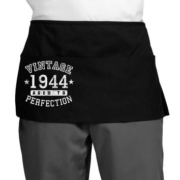 Vintage Birth Year 1944 Dark Adult Mini Waist Apron, Server Apron