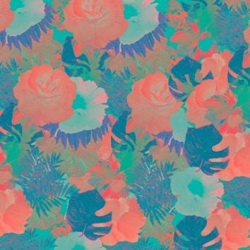CORAL AND BLUE FLOWERS