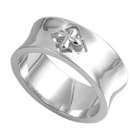 Rhodium Plated Sterling Silver Wedding & Engagement Ring Cross Ring 9MM ( Size 6 to 10) Size 8
