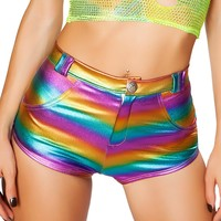 High-Waisted Hologram Shorts with Button Front Detail