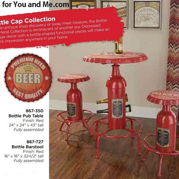 Powell Furniture Bottle Cap Pub Table and Stools set in Red