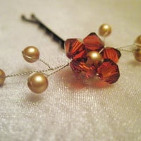Swarovski Flower Hair Pin autumn red orange by embellishingyou