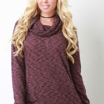 Cowl Neck Boxy Knit Sweater
