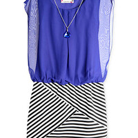 Speechless Girls' Chiffon Striped Dress