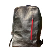 wyvern   black leather laptop backpack with red zippers