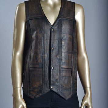VINTAGE DIRTY BROWN LEATHER VEST MENS