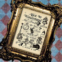 Vintage Alice Wonderland Collage Art Print Wall by BiloxiHousewife
