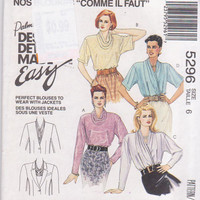 Pattern for loose fitting blouses with draped neckline by Palmer & Pletsch short or long sleeves misses size 6 McCall's 5296 UNCUT