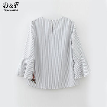 Embroidery Blouses Women White Vertical Striped Vintage Bell Cuff Casual Tops 2017 Boho Keyhole Back