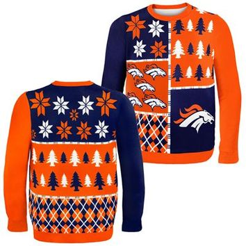 Denver Broncos NFL Busy Block Ugly Sweater (Orange) | Fanzz