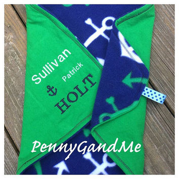 Personalized Nautical Baby Blanket, Anchor Lovey Blanket, Nautical Comfort Blanket, Monogrammed Anchor Blanket, Security Blanket