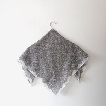 Grey floral scarf / lace effect print / charcole / white / sheer / gift / chiffon scarf / vintage / 90s / small square scarf