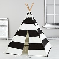 Kids Teepee (Black & White Stripes) in Play Houses & Tents | The Land of Nod