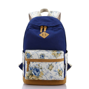 Students Canvas Floral Travel Daughter's Unique Backpack Daypack Bookfashion bag Teen Girls