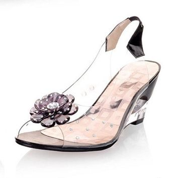 Transparent Wedges Women Sandals 2017 New Fashion Sweet crystal Summer Jelly Shoes Ret