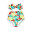 FLOR - Light Blue Floral Print Bow Bandeau & High Waist Bikini!!! Limited Edition