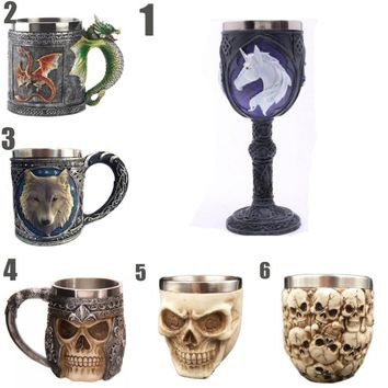 Horror Skull Hand 3D Goblet  Resin Stainless Steel Wine Cup for Halloween Party Decor