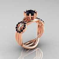 Modern Bridal 14K Rose Gold 1.0 CT Black Diamond Designer Ring R181-14KRGBDD