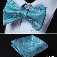 Teal and Green Floral Silk Bowtie with Pocketsquare Self Tie