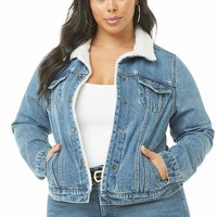 Plus Size Faux Shearling-Trim Denim Jacket