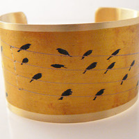 vintage birds on a wire cuff personalized bracelet