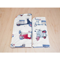 Scooter Vespa Blue and Red Plaid and Union Jack Sunglass Case or Eyeglass Case Slide in Pouch Choose Your Size
