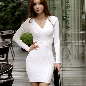 2016 Winter Elegant White Black Red Stretchy Knitted Casual Dress Women Evening Party Sexy Autumn Bodycon Sweater Girls Dresses