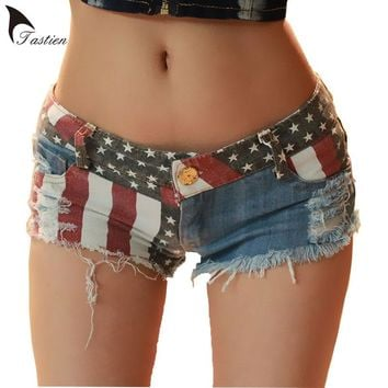 2018 New Brand Women Denim Shorts Summer Mini Shorts USA Flag Print  Sexy Hole Destroyed Jeans Short Pants Feminino Big Size