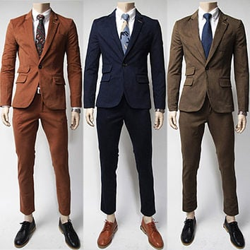 Men Skinny Fit Fashion Suit Set