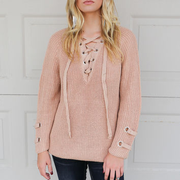 Grommets Galore Beige Oversized Long Sleeve Sweater